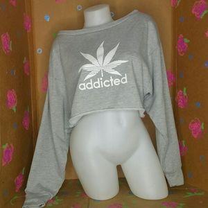 SHEIN Addicted Gray Cropped Sweatshirt Size XS